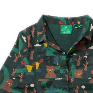 Gevoerd overhemd met beren van organisch katoen