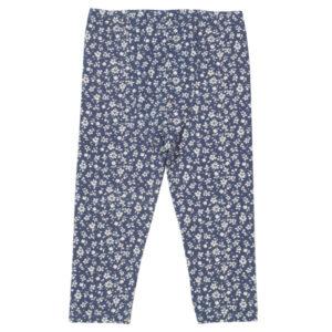 Blauwe legging van organisch katoen met witte bloemetjes