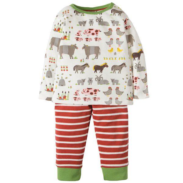 Outfit van organisch katoen met boerderijdierenshirt en streepjesbroek