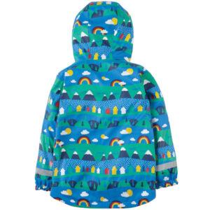 Gevoerde regenjas van gerecycled polyester met bergdorpje