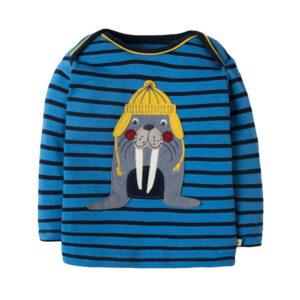 Shirt van organisch katoen met walrus