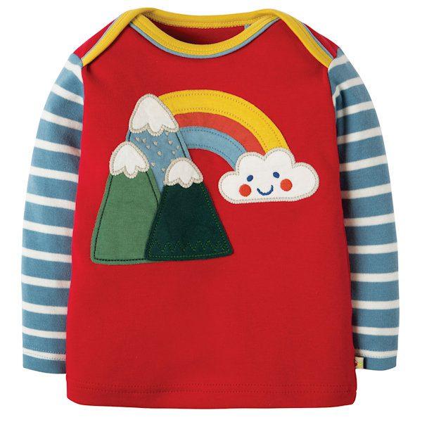 Shirt van organisch katoen met bergjes en een regenboog