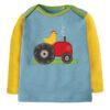 Shirt van organisch katoen met kip op een trekker
