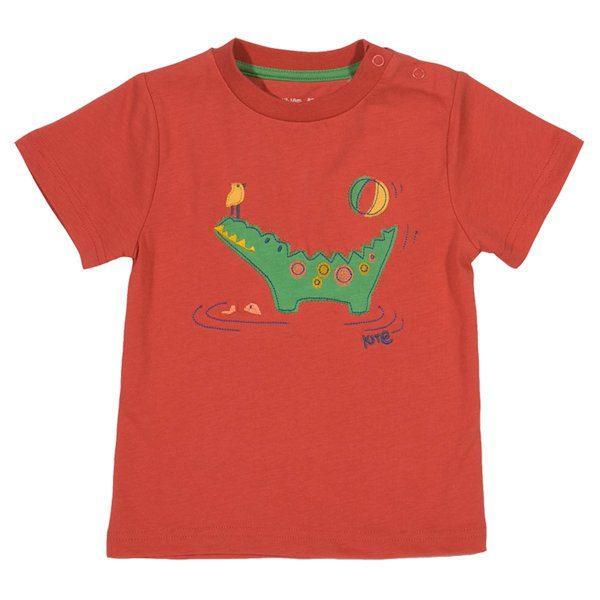 Rood shirt van organisch katoen met krokodil en vogeltje