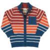 Gebreid blauw vest van organisch katoen met rood, wit en oranje strepen
