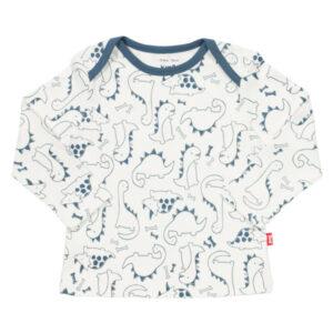 Wit shirt van organisch katoen met blauwe dinos