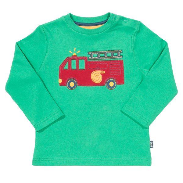 Groen shirt van organisch katoen met een brandweerauto