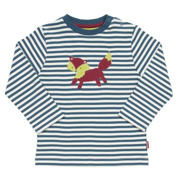 Gestreept shirt van organisch katoen met vosje