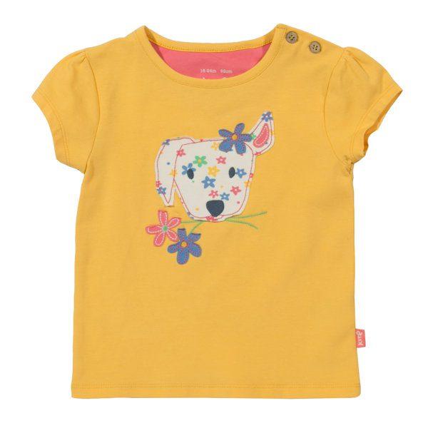 Geel shirtje van organisch katoen met puppy