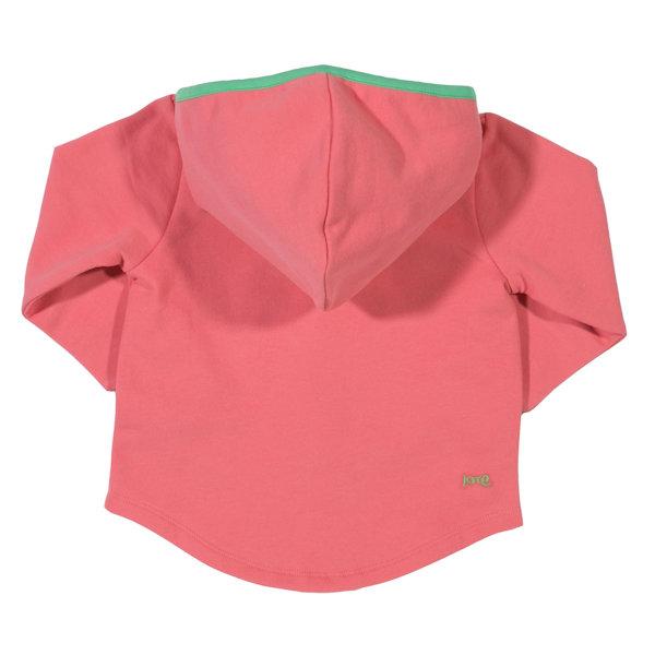 Roze vest van organisch katoen met golfjes en capuchon