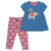 Schattig setje bestaande uit een shirt met korte mouwen met een leuke applicatie en een roze legging met blauw-witte olifantjes.