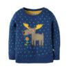 Blauwe trui van organisch katoen met eland