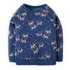 Blauwe trui van organisch katoen met huskies