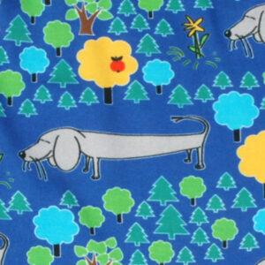 Blauwe salopette van organisch katoen met hondjes