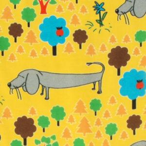 Gele salopette van organisch katoen met hondjes