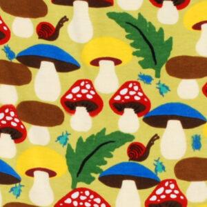 Salopette van organisch katoen met paddenstoelen
