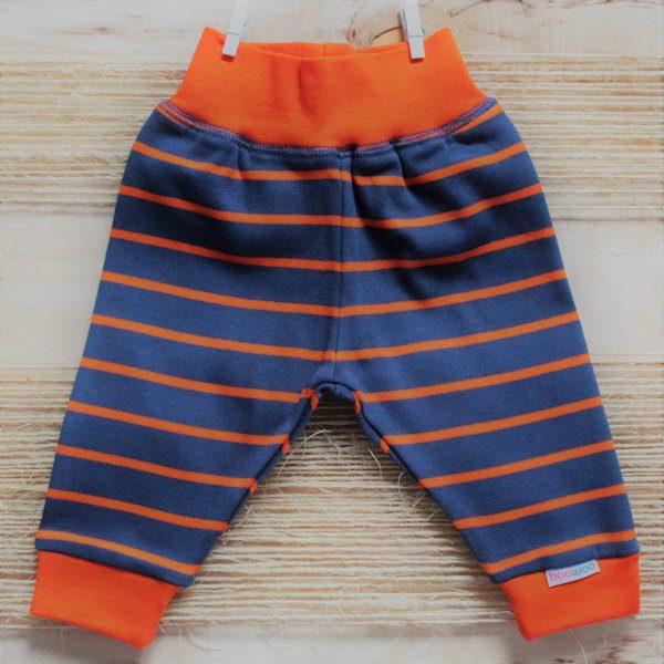 Broekje van organisch katoen met blauw-oranje strepen