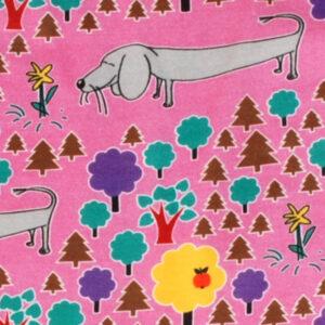 Roze salopette van organisch katoen met hondjes