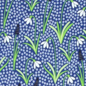 Blauwe salopette van organisch katoen met sneeuwklokjes