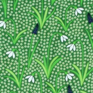 Groene salopette van organisch katoen met sneeuwklokjes