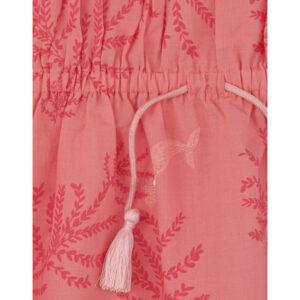 roze zomerjurk van biokatoen met koraal