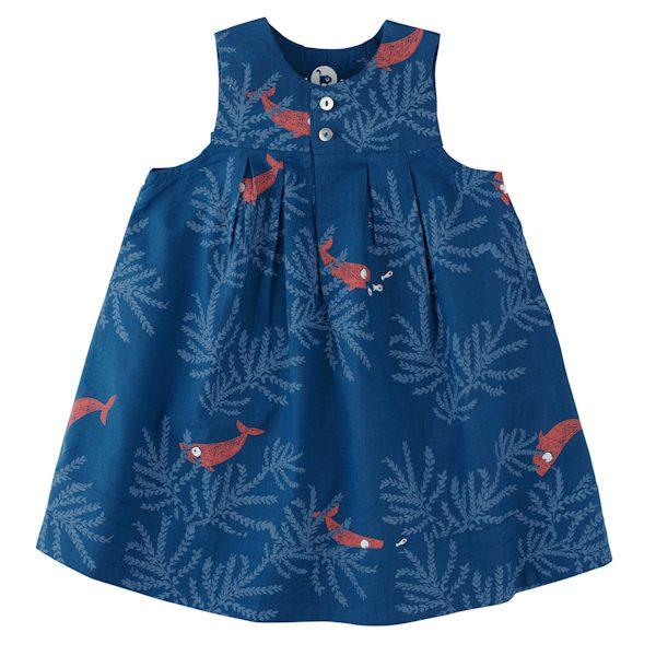 blauwe baby-zomerjurk van biokatoen met visjes