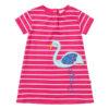 gestreepte jurk van biokatoen met flamingo