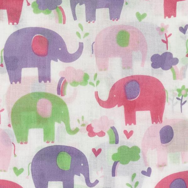 swaddle XL van biokatoen met roze olifanten