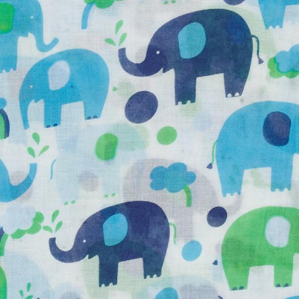 swaddle XL van biokatoen met blauwe olifanten