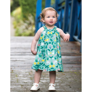 Groen mouwloos jurkje van biokatoen