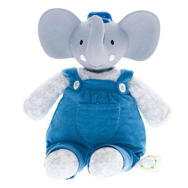 Knuffelolifant met natuurlijk rubber hoofd