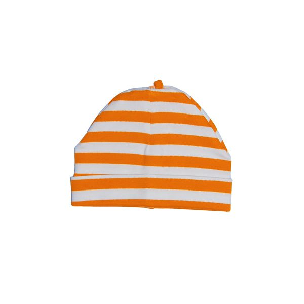 Oranje gestreept babymutsje van biokatoen