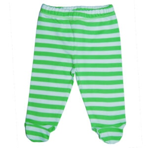 Groen gestreepte babybroek van biokatoen