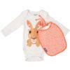 Romper en slab van organisch katoen met konijn