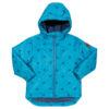 Blauwe winterjas van gerecycled materiaal met panters