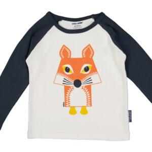 Raglan shirt van organisch katoen met vos