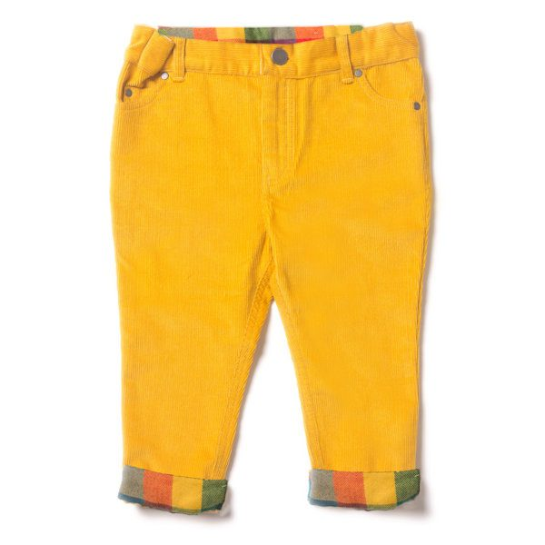 Gele gevoerde corduroy broek van biokatoen