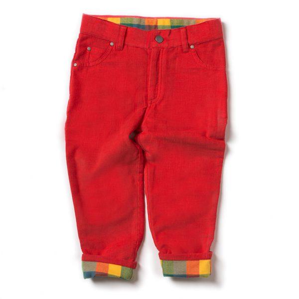 Rode gevoerde corduroy broek van biokatoen