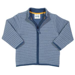 Zacht blauw vest van biokatoen met rits