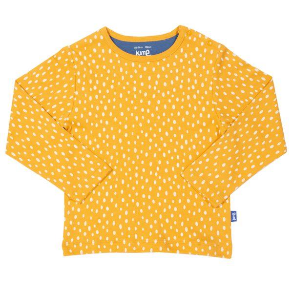 Geel shirt van biokatoen met witte stippen