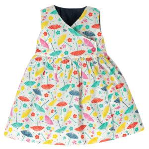 Omkeerbare jurk met katje en parasols