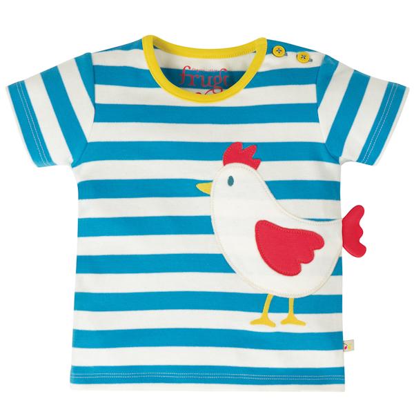 Shirt van biokatoen met strepen en kip