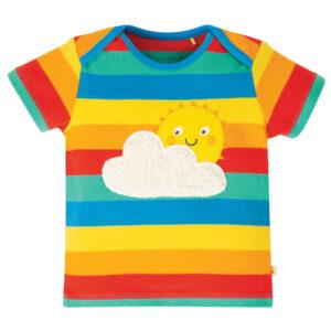 Gestreept shirt met zon en wolk