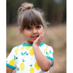 Meyadey jurk met korte mouwen met citroenen