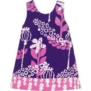 Jurk van Afrikaanse batik in roze en paars