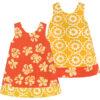 Jurk van Afrikaanse batik in geel en oranje