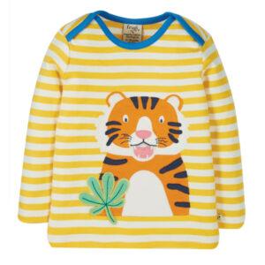 FRUGI Gestreept shirt met tijgertje