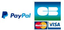 Logo's van PayPal, CB, MasterCard en Visa